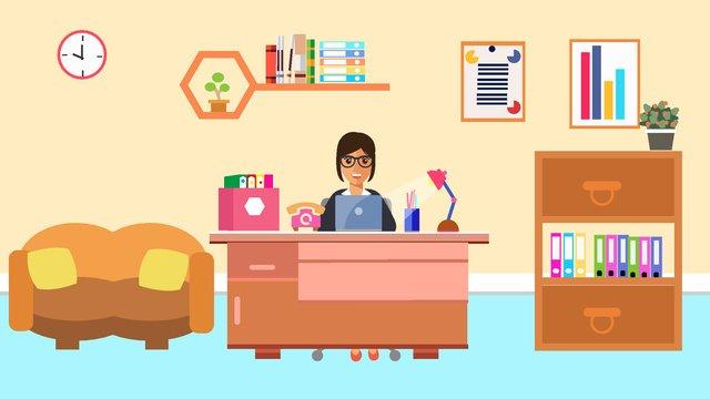 原創商務辦公工作中的人場景矢量插畫 插畫素材