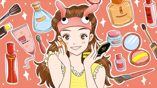 original cartoon skincare makeup illustration llustration image