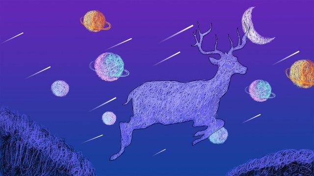 Original coil illustration fantasy starry sky elk, Original, Coil, Illustration illustration image