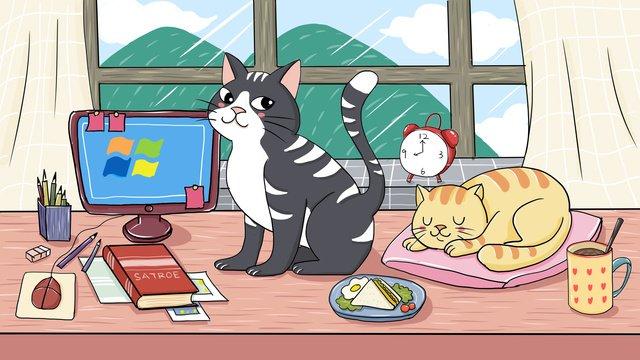 loạt vật nuôi dễ thương chữa mèo minh họa Hình minh họa