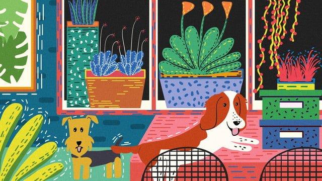 オリジナルのかわいいペットシリーズ犬遊び創造的な手描きのレトロな質感のイラスト イラスト素材 イラスト画像
