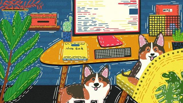 original cute pet series keji dog play creative hand painted retro texture llustration image