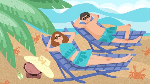 11 국경일 동안 해변 휴가에 커플 삽화 소재
