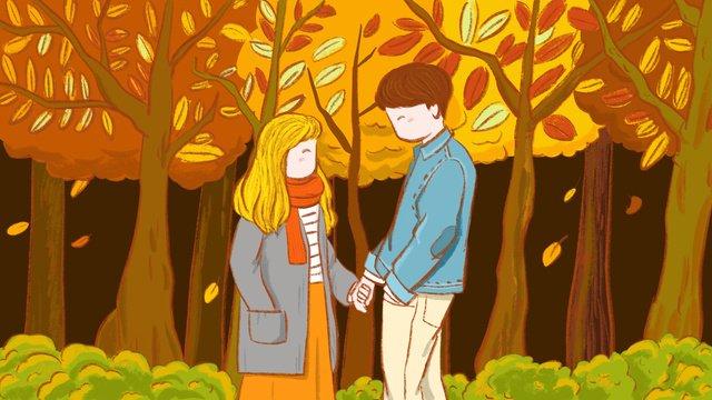 original autumn hello holding hands couple illustration llustration image