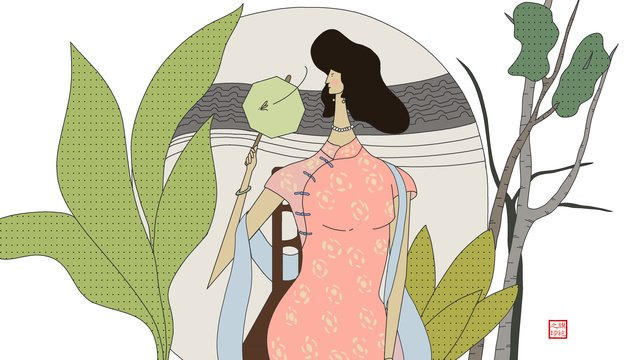 original fan to drive the flies of sitting cheongsam woman llustration image