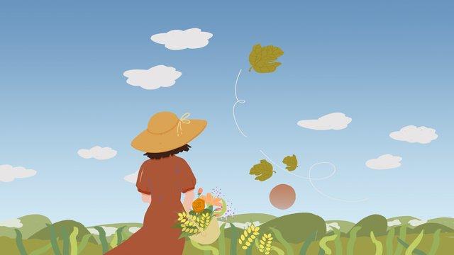 Original field autumn blue sky white clouds girl illustration llustration image
