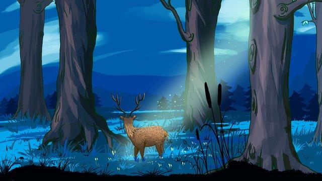 Deer under midnight moonlight, Original, Forest, Deer illustration image