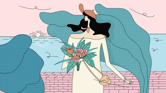 original fresh girl outing flowers midnight city illustration llustration image illustration image