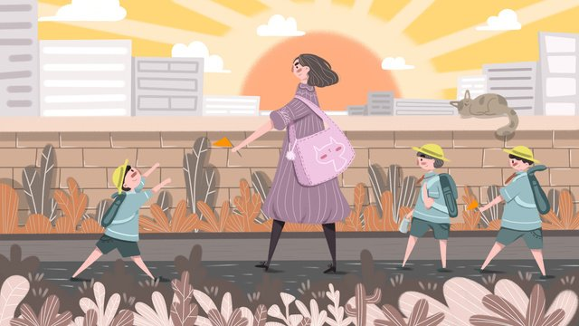 good morning teacher with children going to school llustration image illustration image