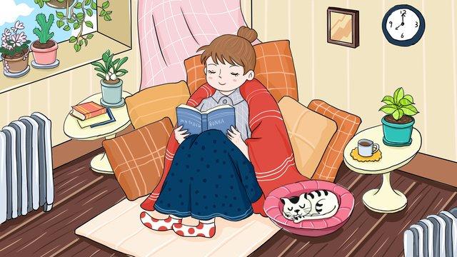 original good morning hello reading girl cartoon illustration llustration image illustration image