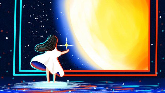 Good night world, Original, Good Night, Aurora illustration image