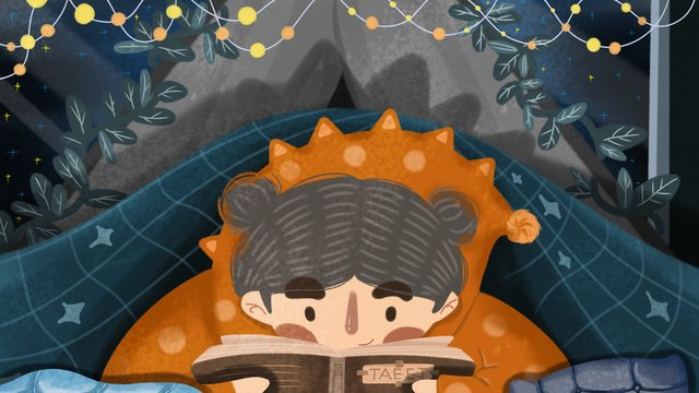 Little girl reading a book in the bed of good night, Original, Good Night, Bed illustration image