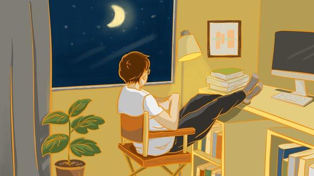 元のおやすみなさい、こんにちは、静かな読書の夜の静かなイラスト イラスト素材 イラスト画像