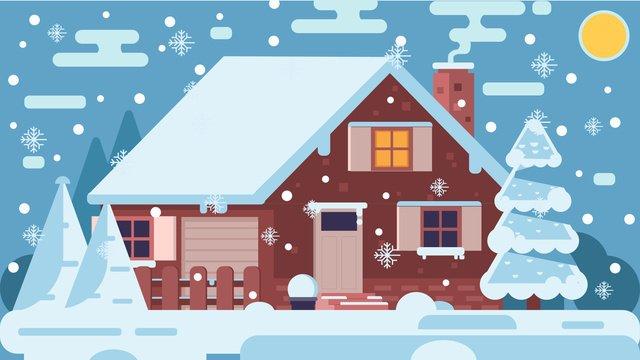 original hand drawn illustration winter snow scene snowing outside the house llustration image illustration image