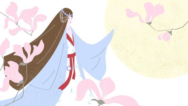 原創插畫古風人物女孩玉蘭唯美古典淡雅背景 插畫素材 插畫圖片