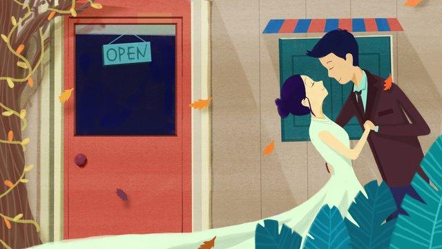オリジナルイラスト韓国のレトロな結婚式の背景カード イラストレーション画像