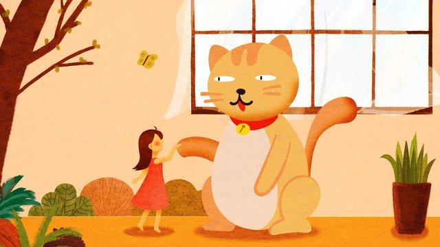 원래 그림 귀여운 애완 동물 시리즈 소녀와 고양이 삽화 소재 삽화 이미지