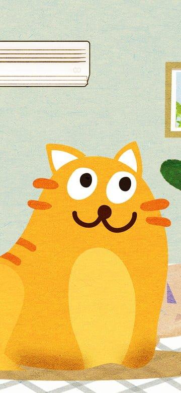 놀리는 고양이의 원래 그림 귀여운 애완 동물 시리즈 삽화 소재