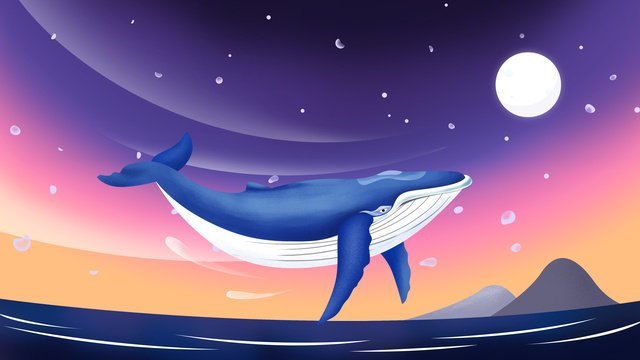 Original illustration deep sea whale healing system, Original Illustration, Deep Sea Whale, Healing illustration image
