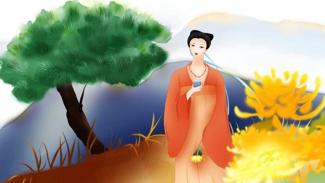 국화 차 고대의 일러스트 레이터의 고마움을 되찾은 original chongyang festival 삽화 소재 삽화 이미지