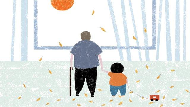 Original illustration chongyang festival elderly caring for the family warm background llustration image illustration image