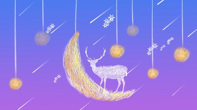 Original coil illustration beautiful starry sky elk, Original, Illustration, Elk illustration image