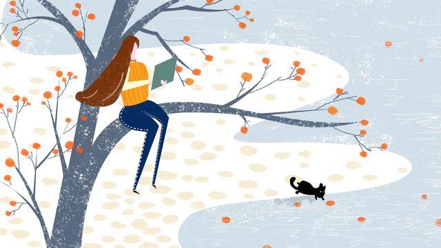 Original illustration autumn hello big tree fruit girl background, Original Illustration, Fall, Hello Autumn illustration image