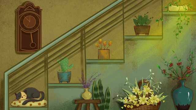 Illustration flower plant retro realistic warm afternoon, Original Illustration, Flowers, Retro illustration image