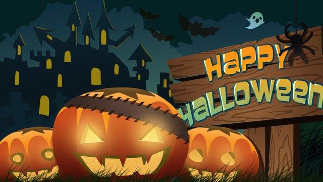 abóbora de gradiente ilustração original luz halloween Material de ilustração