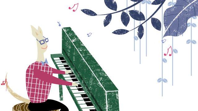 オリジナルイラスト音楽祭の背景ピアノノート携帯電話イラスト手描きクリエイティブ イラスト素材 イラスト画像