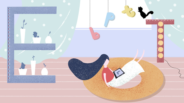 Original illustration letter 邂逅 warm background mobile phone, Original Illustration, Letter 邂逅, Letter illustration image