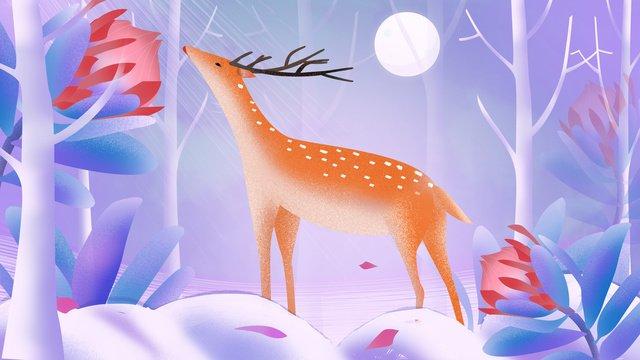 ilustração original lin shenjian deer Material de ilustração Imagens de ilustração