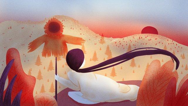 かかしの図の下で西の元の展望台の空元のイラスト  空を見て  癒しのイラスト PNGおよびPSD illustration image
