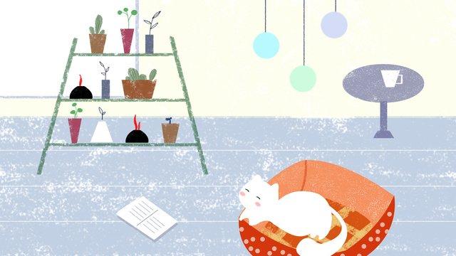 オリジナルイラストかわいいペットライフ猫動物レジャー背景フラワースタンドブルー元のイラスト  孟ペットライフ  彗星 PNGおよびPSD illustration image