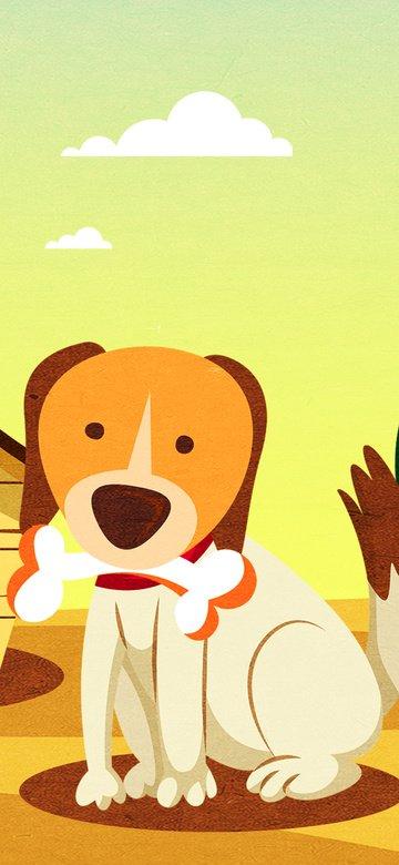オリジナルイラストかわいいペットシリーズかわいい犬 イラスト素材