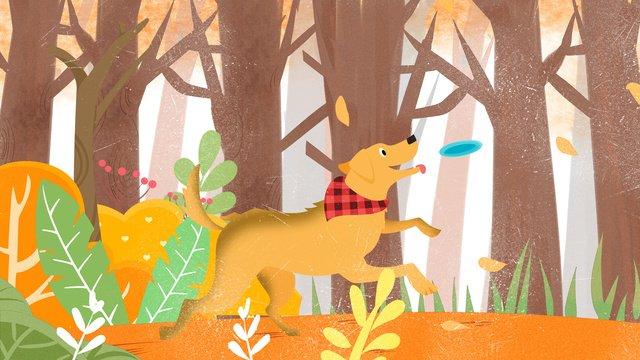 मूल चित्रण प्यारा पालतू श्रृंखला कुत्ता फ्रिसबी उठा चित्रण छवि