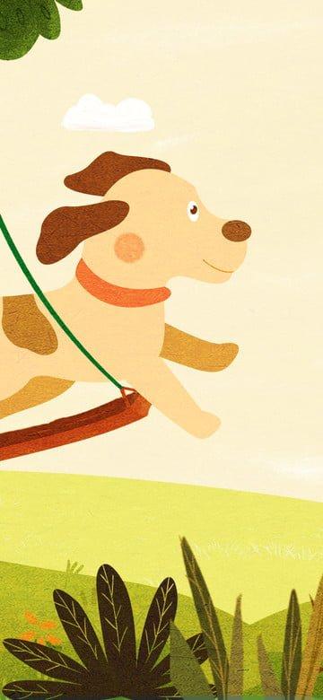 original ilustração bonito pet série pulando cão Material de ilustração