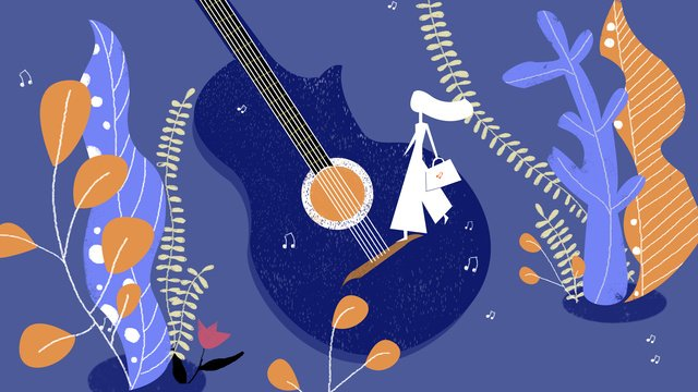 オリジナルイラスト音楽祭ギター楽器女の子緑植物ノート青 イラストレーション画像
