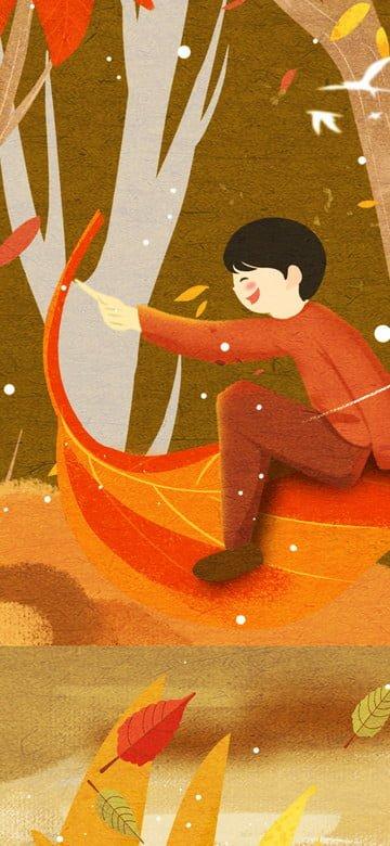 オリジナルイラスト10月こんにちは秋のポスター イラスト素材 イラスト画像