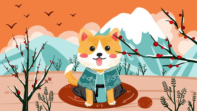 original and wind cute pet small shiba inu llustration image illustration image
