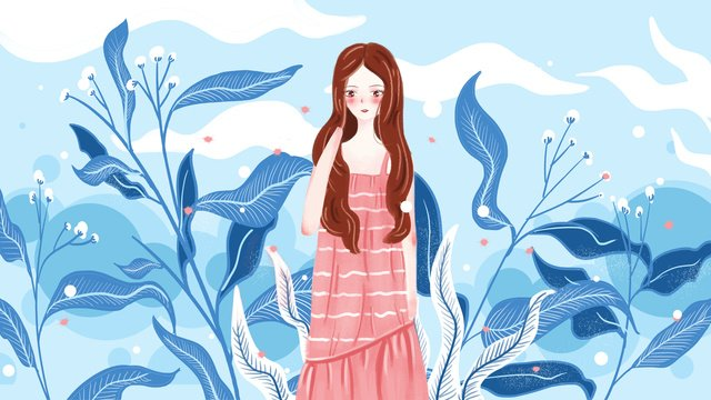 Original illustration blue plant girl, Original, Illustration, Painting illustration image