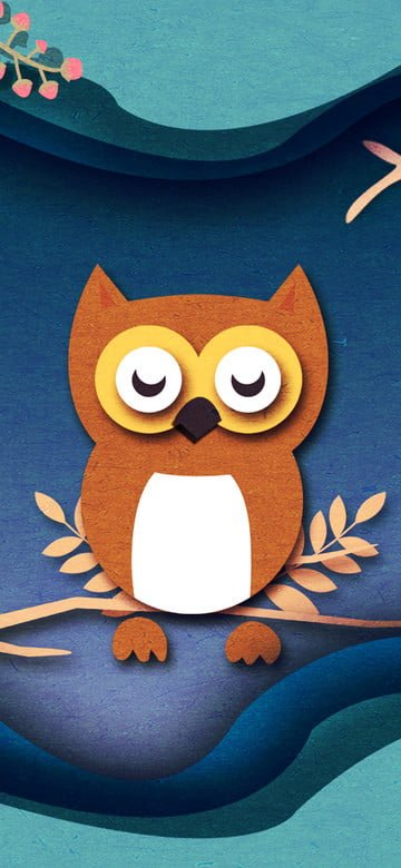 Original illustration paper wind good night hello owl, Original, Illustration, Paper Wind illustration image