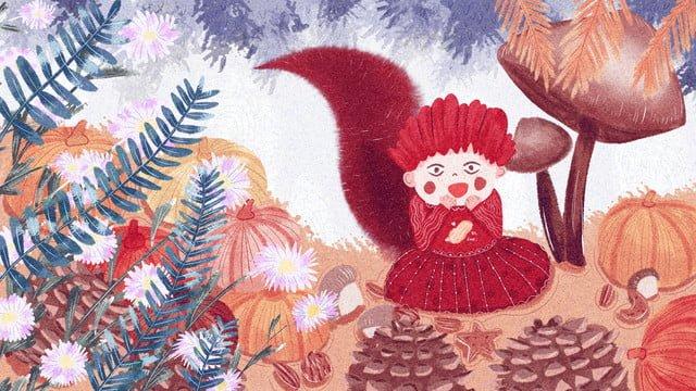original october hello squirrel anthropomorphic cute illustration llustration image