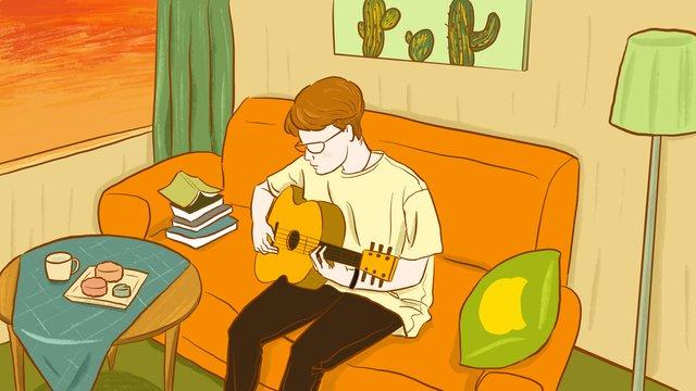 Original one person living playing guitar boy illustration llustration image illustration image