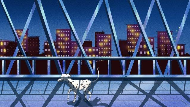 真夜中に高架を一人で歩く イラスト素材 イラスト画像