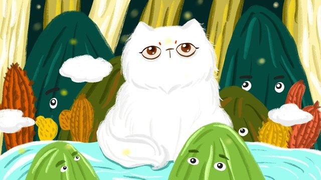 Original illustration of the big cat in forest, Original, Mountain Object, Forest illustration image