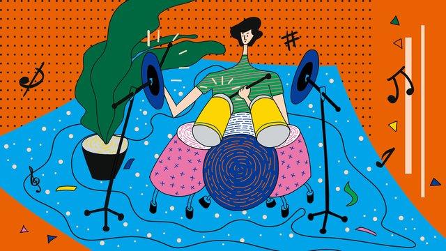 オリジナルの美しい色の音楽祭のドラムキットの図 イラスト素材