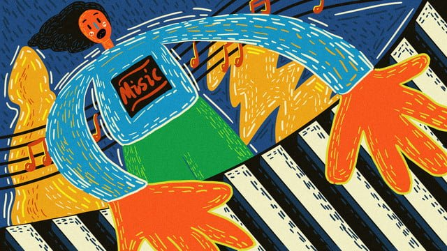 オリジナル音楽祭プレイピアノレトロな質感手描きの治療法 イラスト素材