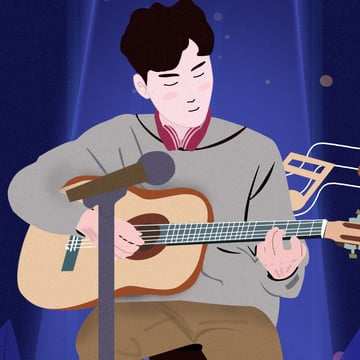 Original music festival boys playing guitar illustration, Original, Music, Music Festival illustration image