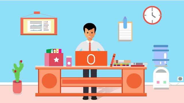 原創辦公工作中的人場景矢量插畫 插畫素材 插畫圖片